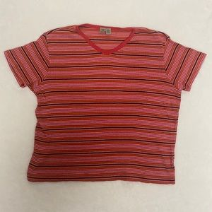90's VTG AEO striped, cropped, baby tee. Sz Large